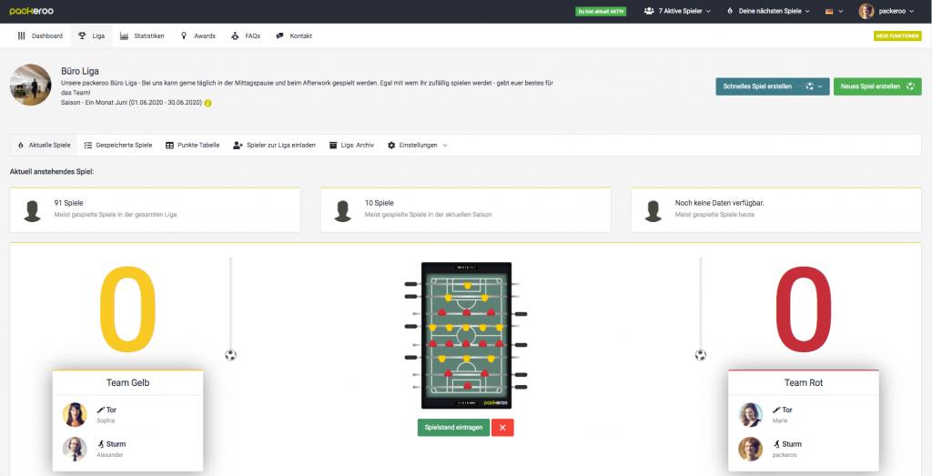 Spiel-Management für das Eintragen von Spiel-Ergebnissen